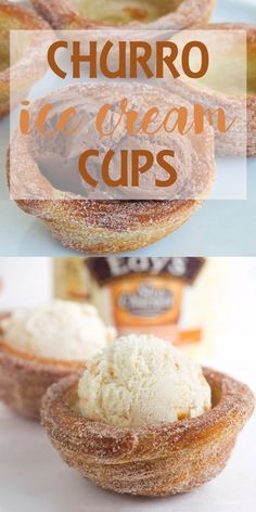 Churro Ice Cream Cups With summer in full swing, you're always looking for fun activities and delicious recipes to try out with your kids. Thanks to this guide for How To Make Churro Ice Cream Bowls—it makes it easy to find both! Keto Desserts, No Bake Desserts, Easy Desserts, Delicious Desserts, Yummy Food, Frozen Desserts, Baking Desserts, Baking Cakes, Desserts For Summer