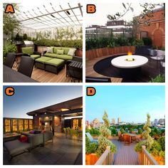 Which of these beautiful rooftop patios would you trade your traditional roof for - A, B, C or D?  Contact Rydel Roofing INC 613-656-8606 www.rydelroofing.ca Rooftop Patio, Traditional, Social Media, Patios, Beautiful, Courtyards, Patio Decks, Social Networks, Roof Deck