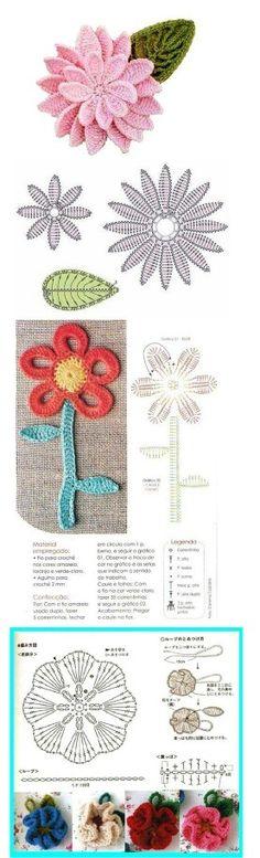 Watch The Video Splendid Crochet a Puff Flower Ideas. Wonderful Crochet a Puff Flower Ideas. Col Crochet, Crochet Motifs, Crochet Flower Patterns, Freeform Crochet, Crochet Diagram, Crochet Chart, Irish Crochet, Crochet Designs, Crochet Stitches