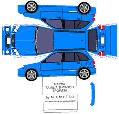 Papel Modelismo: PaperCraft Mazda Familia S-Wagon Sport 20 Paper Model Car, Paper Car, Paper Plane, Paper Models, Cardboard Toys, Paper Toys, Mazda Familia, New Survivor, House Template