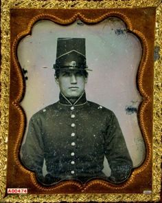 ca. 1855, [daguerreotype portrait of an unidentified Private U. S. Army with uniform, shako cap, earrings]