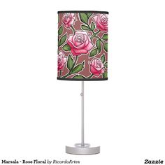 Marsala - Rose Floral Table Lamps