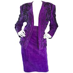 Jean Claude Jitrois Couture Leather Custom Made Purple Lesage Beaded Skirt Suit | From a collection of rare vintage suits, outfits and ensembles at https://www.1stdibs.com/fashion/clothing/suits-outfits-ensembles/