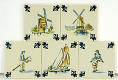 KLM Delft Polychrome Tiles (5), 1980's Business Class, Coasters, NIP with COA 21979 by JacksonsMarket on Etsy