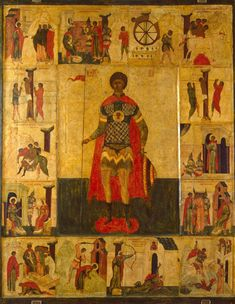 Icon: St George with scenes from his life. Russia, 1st half of 16th century.