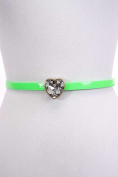 #FashionVault #ami clubwear #Women #Accessories - Check this : Lime Patent Faux Leather Slender Rhinestone Heart Buckle Belt for $12.99 USD instead of $4.99 #OnSale