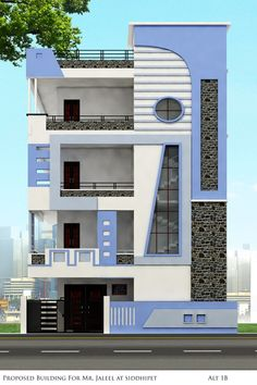 Explore the best new residential architecture, ranging from large developments to small extensions, skinny houses and penthouse apartments. House Front Wall Design, House Outer Design, 3 Storey House Design, Single Floor House Design, Village House Design, Bungalow House Design, Small House Design, Front Design, 2bhk House Plan
