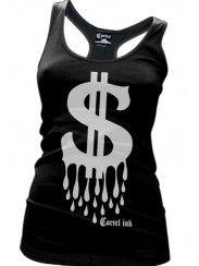 """Women's """"Blood Money"""" Racerback Tank by Cartel Ink (Black)"""
