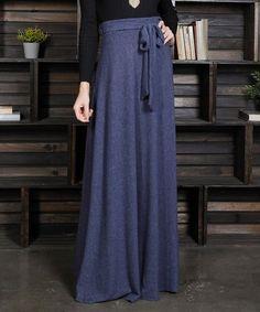 e86768bcc4 Milly Penzance   Heather Navy Tie-Belt High Waist Maxi Skirt - Women