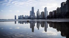 Chicago skyline on a February day: in a North Beach puddle. Armando L. Sanchez
