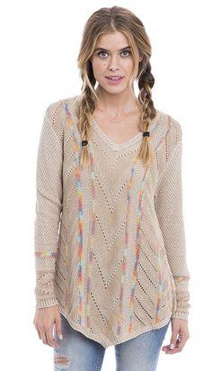 Winter Wanderer Pointelle V-Neck Pullover Sweater
