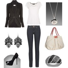 loving the skinny jeans and the black belted cardigan!