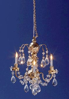 Miniature Renaissance 3 Up-arm Chandelier - from our selection of dollhouse Ceiling & Wall Lights . The miniatures you need to build or furnish your dollhouse. Dollhouse Supplies, Dollhouse Kits, Dollhouse Miniatures, Victorian Dollhouse, Miniature Furniture, Dollhouse Furniture, Chandelier Lamp, Chandeliers, Wall Lights