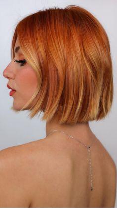 Bob Hair Color, Ginger Hair Color, High Fashion Hair, Fashion Beauty, Organic Hair Color, Strawberry Blonde Hair, Corte Y Color, Haircut For Thick Hair, Great Hair