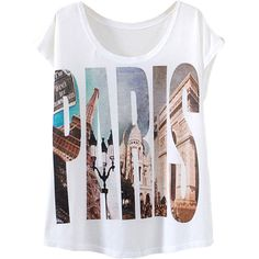 White Letter Paris Printed Casual Stylish Womens Tee Shirt ($7.98) ❤ liked on Polyvore featuring tops, t-shirts, shirts, blusas, white, letter t shirts, white t shirt, letter shirts, white top and white shirt