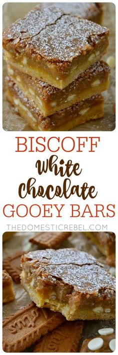 My new favorite: Biscoff White Chocolate Gooey Bars! Sweet, spicy, and ULTRA GOOEY! This recipe is so easy and so adaptable!