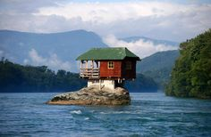 The exterior might need some minor repair work, but at least there's no lawn to mow. This idyllic shelter on top of a rock on the river Drina near the western Serbian town of Bajina Basta has survived wind and weather since it was built in 1968.