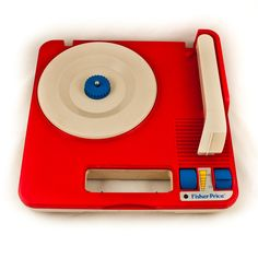 Red VINTAGE RECORD PLAYER Retro Decor
