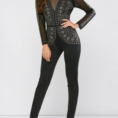 Mesh Rhinestone Backless Sheer Jumpsuit  $52.48    Specification  Color: BLACK  Size: S, M, L  Category: Women > Bottoms > Jumpsuits     Material: Cotton Blends,Lace,Polyester  Fit Type: Skinny  Pattern Type: Solid  Embellishment: Crystal  Style: Streetwear  Season: Fall,Spring,Winter  Elasticity: Elastic  With Belt: No  Weight: 0.420kg  Package Contents: 1 x Jumpsuit