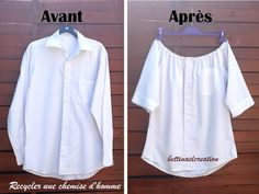 Idea Couture: What to do with a man& shirt? - Laetitia Dutertre - - Idée Couture : Que faire avec une chemise d'homme ? Idea Couture: What to do with a man& shirt?Made in France -Idea Couture: Was macht man mit einem Herrenhemd?directions in French, Shirt Refashion, T Shirt Diy, Diy Clothing, Sewing Clothes, Men Clothes, Clothing Styles, Shirt Transformation, Diy Kleidung, Diy Vetement