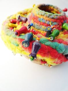 Funky Colorful Fiber on Gourd UFO Yellow Green Red by bazketmakr