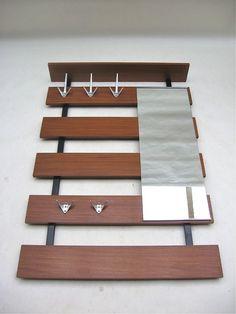 Architectural TEAK Wall Mount Coat Rack/Mirror Danish Modern Jacobsen Eames Knoll Era