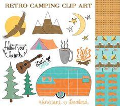 Camping Clip Art Retro Camper Clip Art Tent by GraceHarveyGraphics, $4.99