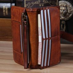 71aeaca2a Cool Leather Mens Long Leather Wallet Bifold Vintage Brown Wallet for Men