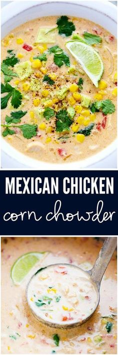 Mexican Chicken Corn Chowder is creamy, cheesy and so easy to make! It has just enough of a kick to it and the flavor is incredible. This will be one of the best chowders that you will eat!