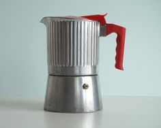 *** Vintage Rare Espresso Coffeepot *** Aluminium coffeemaker with red plastic… Espresso Maker, Espresso Coffee, Espresso Machine, Italian Espresso, Italian Coffee, Coffee Cans, Coffee Shop, Coffee Maker, Moka