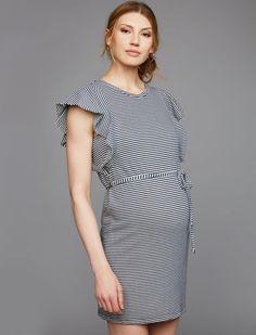 e50640d8d55e0 Splendid Sleeve Detail Maternity Dress, Navy/Off White Stripe Knee Sleeves,  Short Sleeves