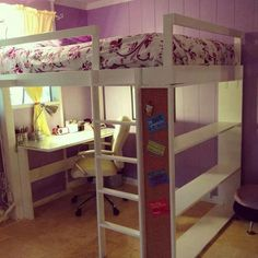 Sweet Purple and White Kids Girls Room Design with Corner Study Space Underneath Wooden White Loft Bed and Beige Marble Floor Design also Simple Window Ideas for Colorful Kids Bedroom Decorations with Classy Loft Bed Furniture Loft Bunk Beds, Bunk Bed With Desk, Bunk Beds With Stairs, Kids Bunk Beds, Desk Bed, Low Loft Beds, Desk Chair, White Loft Bed, Loft Beds For Teens