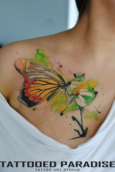 Watercolor tattoo designs are cropping up creating the buzz and trend in the tattoos section. Deviating Water color tattoos from the traditional tattoos. Watercolor Butterfly Tattoo, Butterfly Tattoo Cover Up, Butterfly Tattoo Meaning, Butterfly Tattoo On Shoulder, Butterfly Tattoos For Women, Butterfly Tattoo Designs, Dragon Tattoo Designs, Tattoo Designs For Girls, Watercolor Tattoos