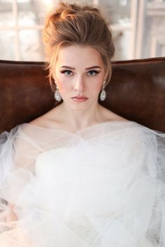 Curled updo with lift in the front ~ we ♥ this! moncheribridals.com