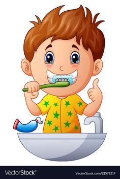 Cute boy brushing teeth vector image on VectorStock Brush Teeth Clipart, Hand Washing Poster, Flashcards For Kids, Dental Kids, Kids Schedule, Summer Schedule, Kids Education, Morphe, Preschool Activities
