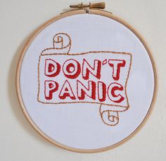 Don't Panic - Hitchhiker's Guide themed Wall Art, Embroidery, Pop Culture, Funny