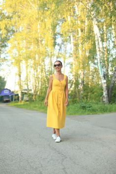 Yellow natural linen dress, dress with pockets, linen, yellow dress, natural linen, linen dress, summer dress, bright dress, maternity dress by CloserbyLuisa on Etsy https://www.etsy.com/listing/532609298/yellow-natural-linen-dress-dress-with