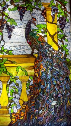 Peacock stained glass window. #stainedglass #glassart