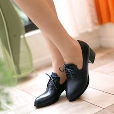Pointed Toe Lace Up Women Pumps Hig