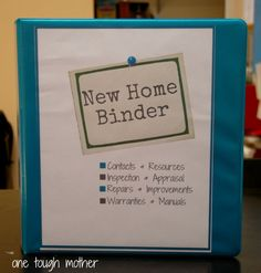 New Home Binder with FREE Printables by One Tough Mother--keep all papers to do with your house in ONE spot--great for when you sell