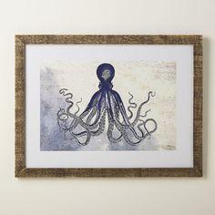 Octopus Deep Blue Framed Print
