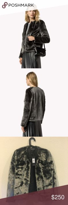 NWT Tommy Hilfiger Ragnar leather & faux fur coat New grey collarless coat! From the So Sage blog. No trades. Tommy Hilfiger Jackets & Coats