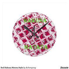 #Red Hakuna Matata #Style #Round Clocks #Hakuna #Matata #Clock #funny #penguin #saying, #steal #my #sanity, #with #quote #Cute #Quotes #Clocks
