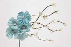 Cherry blossom hair accessories -   sky blue flower hair clip - Bridal Hair - something blue MyDivineBoutique
