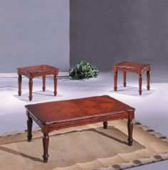 """3pc Coffee Table & End Table Set Cherry Finish by ACME. $269.99. 3pc Coffee Table & End Table Set Cherry Finish. Living Room->Coffee and Occasional Tables->Coffee and End Table Sets. Some assembly may be required. Please see product details.. Living Room. You will receive a total of 1 coffee table and 2 end tables.  Coffee table: 48""""W x 30""""D x 18""""H  End tables: 26""""W x 22""""D x 21""""H  Finish: Cherry  Material: Wood  3pc Coffee Table & End Table Set Cherry Finish  Item feature..."""