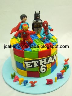 Avengers Birthday Cakes, 5th Birthday Cake, Superhero Birthday Cake, Lego Birthday Party, Lego Superhero Cake, Lego Batman Cakes, Bolo Lego, Ballet Cakes, Dino Cake