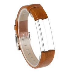 Wearlizer Genuine Leather Accessories Band Replacement Strap Wristband w Metal Buckle for Fitbit Alta  Brown -- Details can be found by clicking on the image.