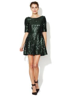 French Connection Ozlem Sequin Fit and Flare Dress