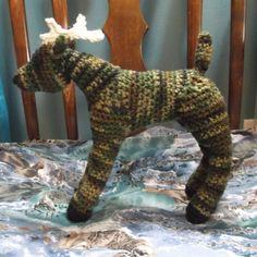 Crochet deer or buck camoflage deer amigurumi ready by SalemsShop