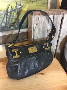 Fossil Long Live Vintage 1954 Small Distressed Black Leather Brass Hobo Handbag   | eBay